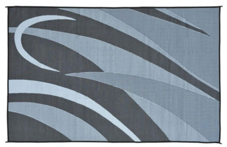 8' x 16' Graphic Reversible RV Patio Mat- Black/Silver