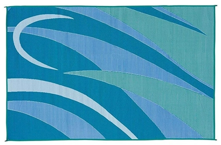 8' x 20' Graphic Reversible RV Patio Mat- Blue/Green
