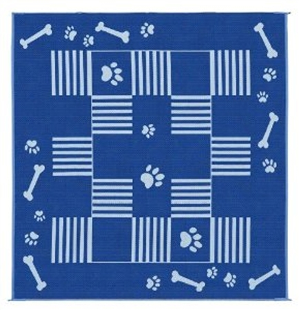 9' x 9' Dog Paw Bone Reversible RV Patio Mat- Blue & White