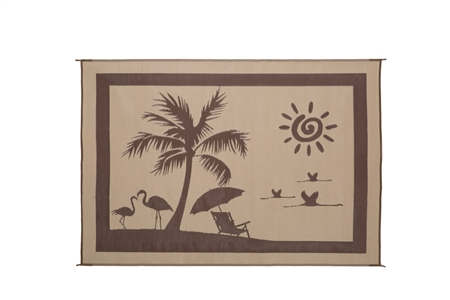 8'x 11'  Beach Reversible RV Patio Mat- Brown/Beige