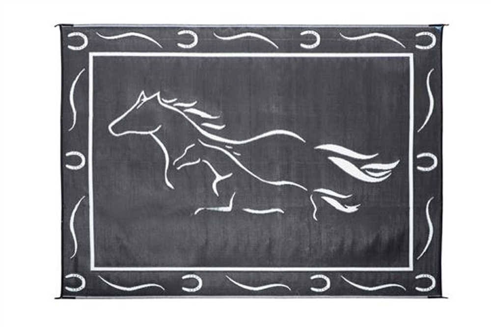 Ming S Mark Gh8111 Reversible Rv Patio Mat Black White Galloping Horses Design 8 X 11