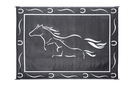 8' x 11' Horses Reversible RV Patio Mat- Black & White