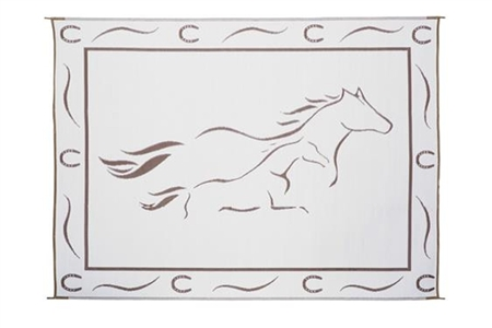 8' x 11' Horses Reversible RV Patio Mat- Brown/White
