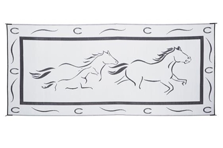 8' x 18' Horses Reversible RV Patio Mat- Black/White