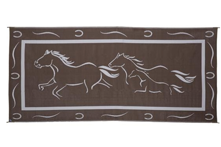 8' x 18' Horses Reversible RV Patio Mat- Brown/White