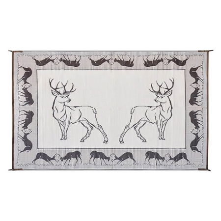 8' x 18' Deer Reversible RV Patio Mat Black/Brown/Beige