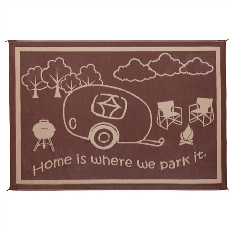 Ming's Mark RH8187 RV Patio Mat 8' x 18'- Brown & Beige