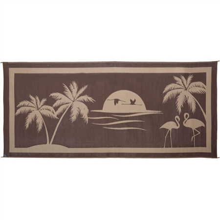 Ming's Mark TO8187 Reversible RV Patio Mat - Brown & Beige Tropical Oasis Design - 8' x 18'
