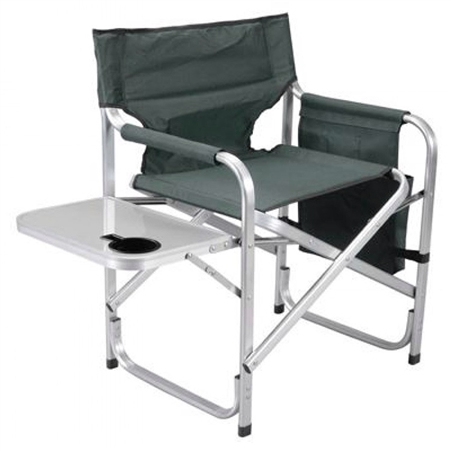 Faulkner Green Director's Chair with Pocket Pouch & Folding Tray