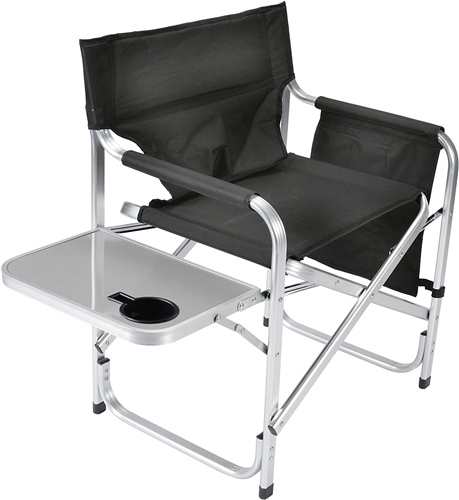 Faulkner Black Director's Chair with Pocket Pouch & Folding Tray