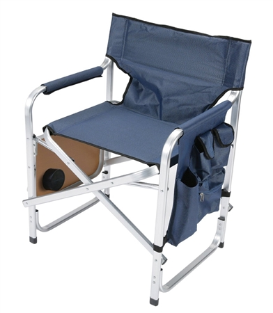 Faulkner Blue Director's Chair with Pocket Pouch & Folding Tray