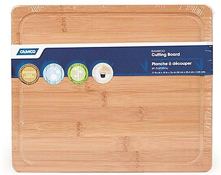 Camco RV Bamboo Cutting Board with Juice Groove and Foot