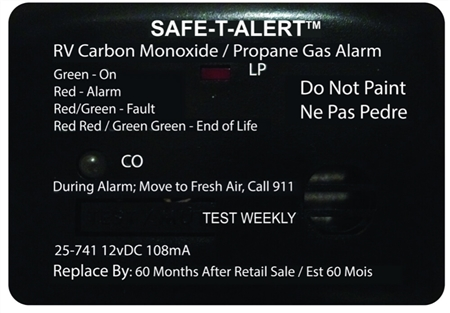 Safe-T-Alert 25-741-BL 25 Series Mini Dual Carbon Monoxide/LP and Propane Gas Detector - Black