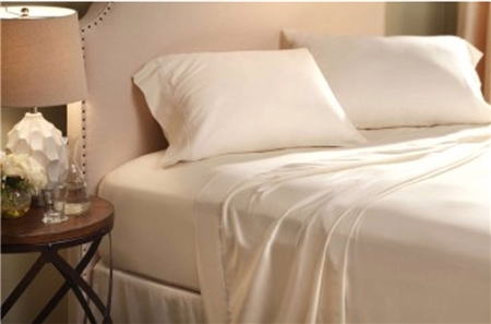 Denver Mattress 343502 RV Collection King Sateen Ivory Sheet Set - 300 Thread Count