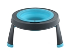 Dexas Single Elevated Large Travel Pet Feeder - Blue/Gray
