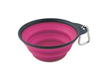 Dexas PW200432233 Small Collapsible Travel Pet Cup - Pink & Gray