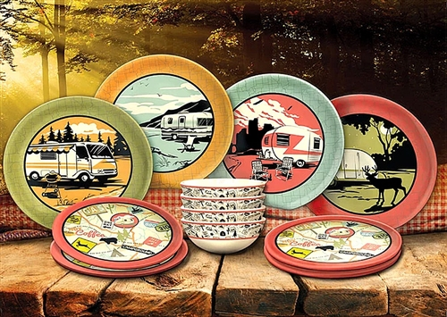 Camp Casual CC-001 Melamine RV Dish Set - 12/PC