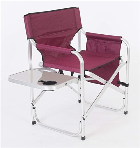 Faulkner 52283 Burgundy Director's Chair with Pocket Pouch & Folding Tray