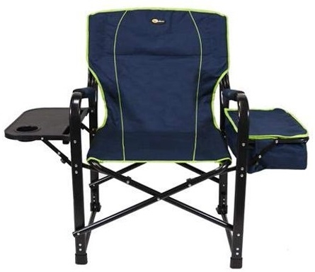 Faulkner 69230 El Capitan Folding Director's Chair With Cooler - Dark Blue/Light Green