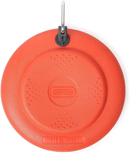 Dexas International PWT010-2027 Off-Leash Dog Frisbee With Leash Clip