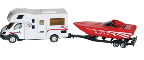 Prime Products Class C Motor Home And Boat Die Cast Collectible