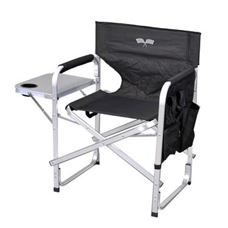 Ming's Mark SL1204-BLACK/FLAG Black & White Folding Director's Chair