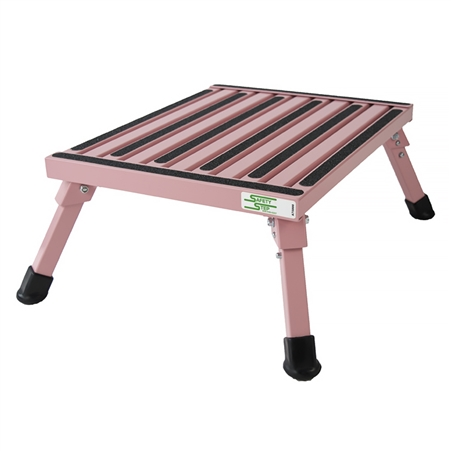 Safety Step F-08C-P Large Folding Step Stool - Pink - 8""