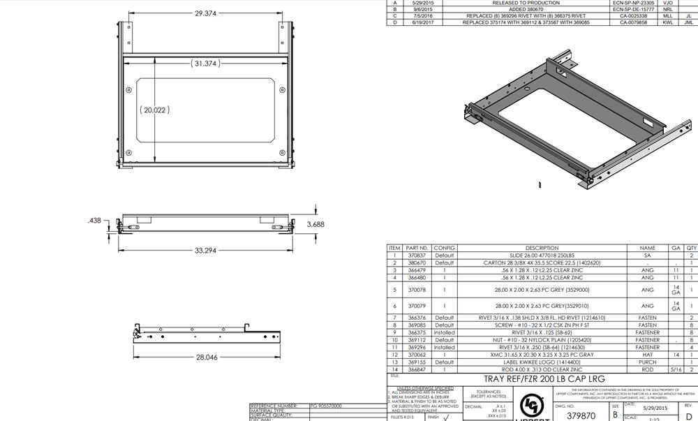 Kwikee 905570000 Refrigerator/ Freezer Slide Tray 200 lbs