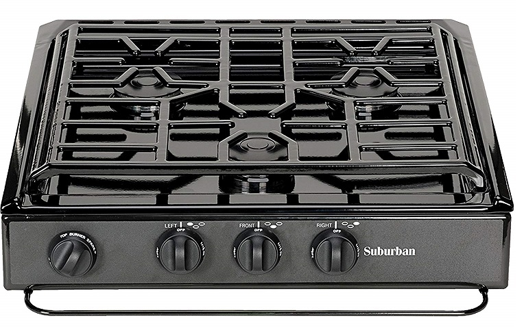 Suburban 3200A 3 Burner Slide In RV Cooktop Stove   Piezo Ignition With  Conventional Burners