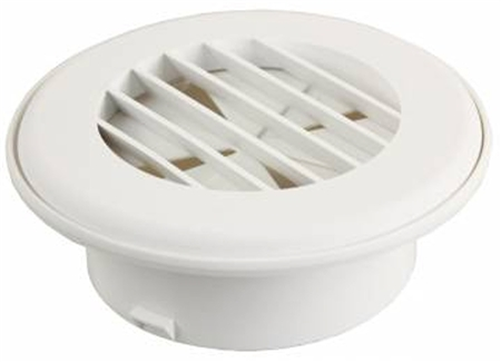 "JR Products HV4DPW-A 4"" Thermovent Ducted Heat Vent With Damper- Polar White"