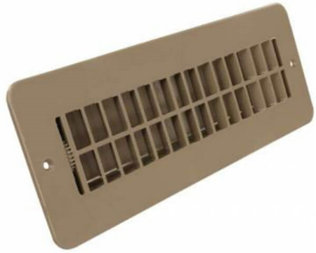 JR Products 288-86-AB-TN-A RV Floor Register With Damper- Tan