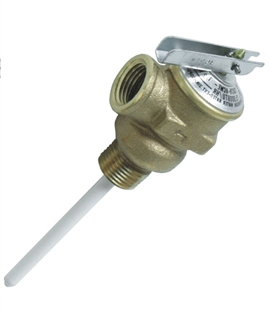 "Camco 10423 Temperature & Pressure Relief Valve - 1/2"" with 4"" Probe"