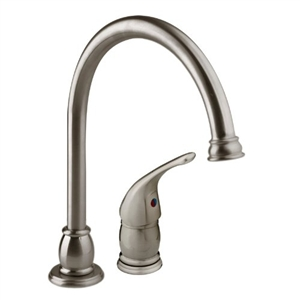 Satin Nickel Goose Neck Pedestal Kitchen Dura Faucet