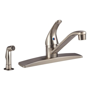 Satin Nickel Single Lever RV Kitchen Dura Faucet W/Side Spray