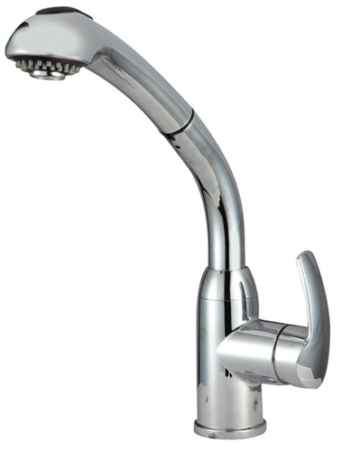 Chrome Hi-Rise Pull-Out Brass RV Kitchen Dura Faucet