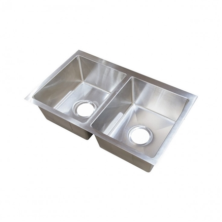 Lippert Components 385314 Better Bath Stainless Steel Double Bowl Square Sink