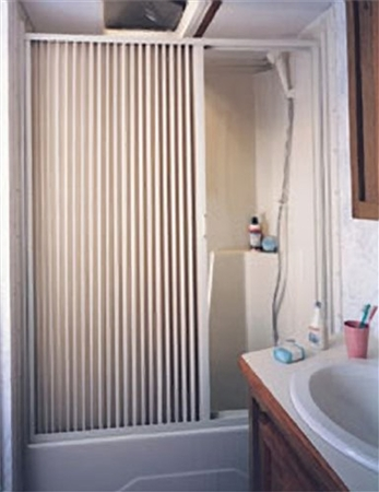 "IRVINE 6057SW RV Pleated Shower Door 57"" x 60""- White"