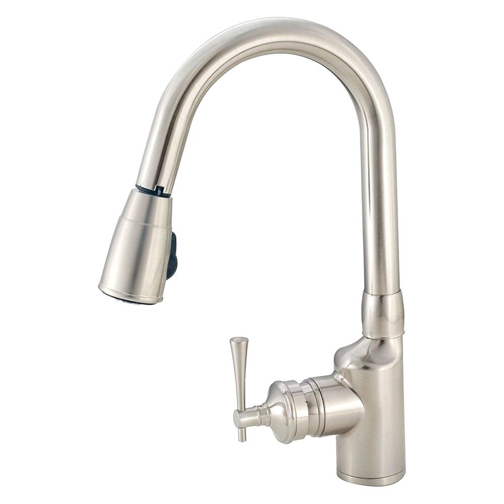 American Brass SL2000N Brushed Nickel Single Lever Gooseneck Pull Down  Kitchen Faucet