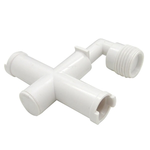 Dura Faucet White RV Exterior Shower Diverter Tee