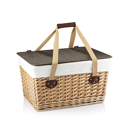 Picnic Time Canasta Grande Picnic Basket - Natural Willow with Tan Lining
