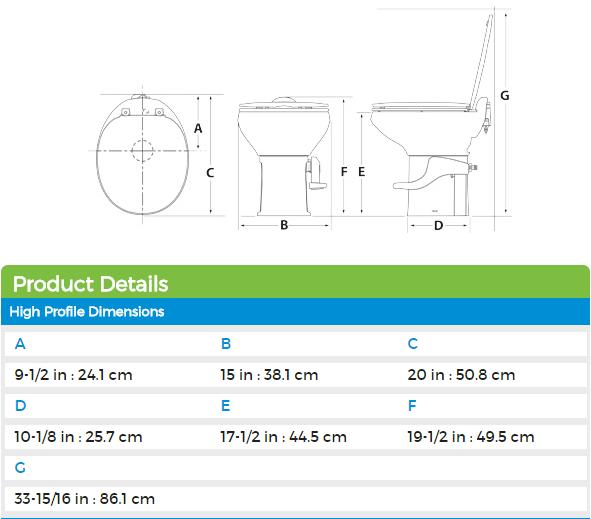 thetford 42058 aqua magic style ii high profile ceramic rv toilet without  water saver  white