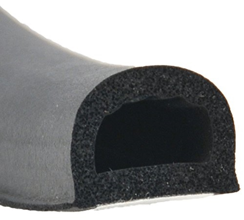 "AP Products 018-318 Black Non-Ribbed D Seal With Tape - 3/4"" x 1/2"" x 50'"