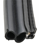 "AP Products 018-181-BB Black Slide Double Bulb Seal - 1 1/2"" x 3/4"" x 25'"