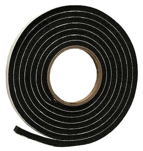 "AP Products 018-5163810 Black Rubber Foam Weather Stripping - 5/16"" x 3/8"" x 10'"