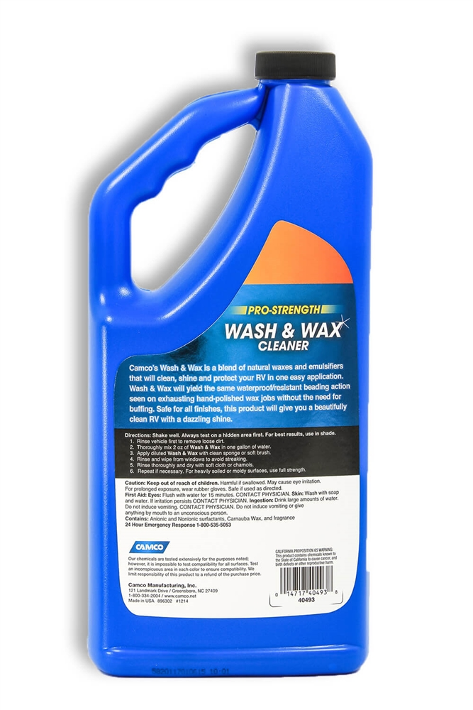 Camco 40493 Pro Strength Rv Wash Wax 32oz