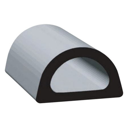 "Clean Seal 109H2-50 0.610"" x 0.360"" Non-Ribbed D Seal With Tape - Black"