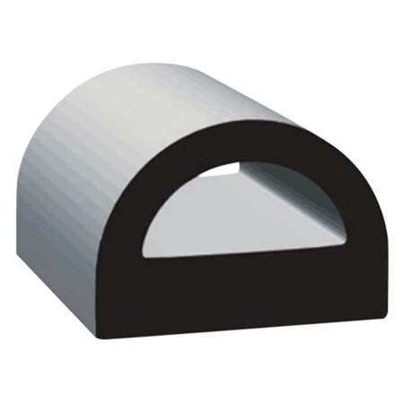 "Clean Seal 125H2-50 3/4"" x 0.59"" Non-Ribbed D Seal With Tape - Black"