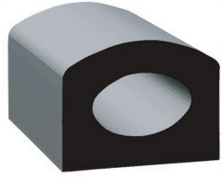 "Clean Seal 1723H2-50 5/8"" x 3/8"" EDPM D Seal With Tape - Black"