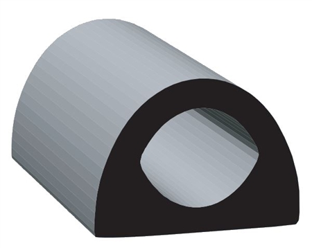 "Clean Seal 108H2-50 1/2"" x 0.36"" Non-Ribbed D Seal With Tape - Black"