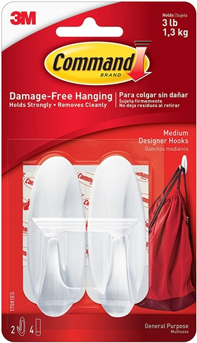 3M 17081ES Command Designer Hooks - Medium - 2 Pack